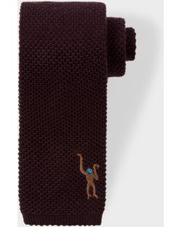 Men's Chocolate Brown Embroidered 'monkey' Knitted Tie
