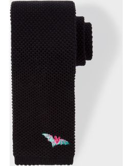 Men's Black Embroidered 'bat' Knitted Tie