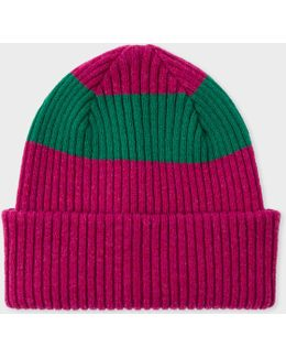 Men's Raspberry Pink Ribbed Lambswool Beanie Hat With Green Stripe