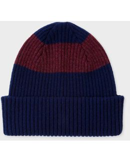 Men's Navy Ribbed Lambswool Beanie Hat With Plum Stripe