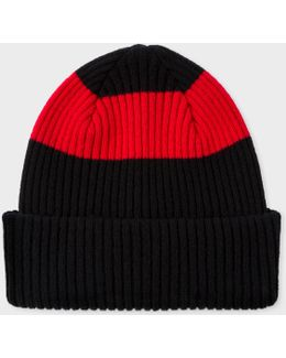 Men's Black Ribbed Lambswool Beanie Hat With Red Stripe