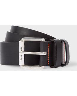 Men's Matte Black Leather Double Keeper Belt