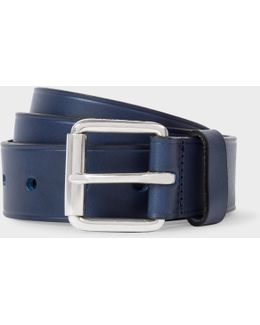 Men's Navy Punched Hole Leather Belt
