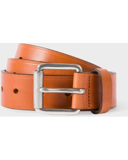 Men's Tan Punched Hole Leather Belt