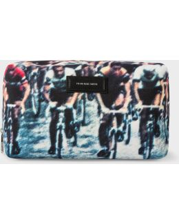Men's 'cycling' Print Wash Bag
