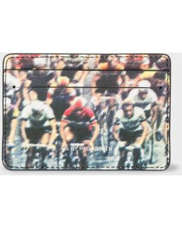 Men's Black 'cycling' Print Leather Credit Card Holder