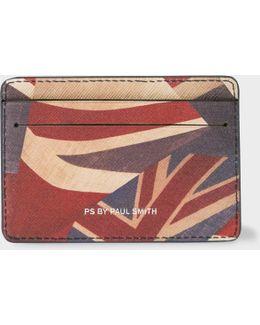 Men's Navy 'union Jack' Print Leather Credit Card Holder