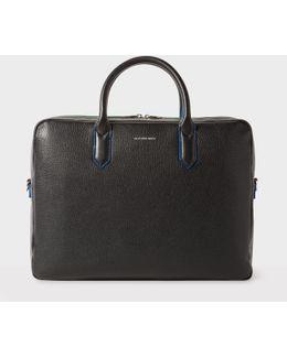 Men's Black Leather 'cycle Stripe' Detail Business Folio