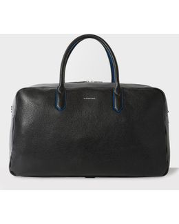 Men's Black Leather 'cycle Stripe' Detail Holdall