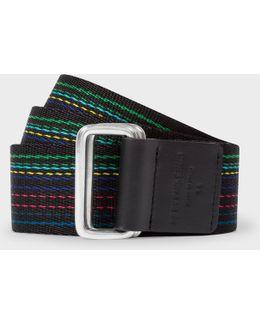 Men's 'cycle Stripe' Canvas Double Buckle Belt