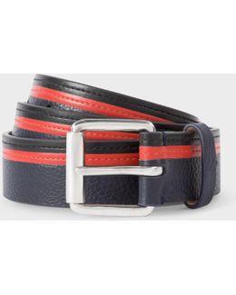 Men's Navy, Black And Red Stripe Leather Belt