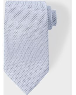 Men's Sky Blue Pin Dot Silk Tie With 'naked Lady' Lining