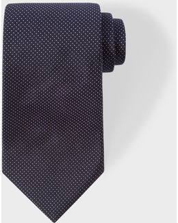 Men's Navy Pin Dot Silk Tie With 'naked Lady' Lining