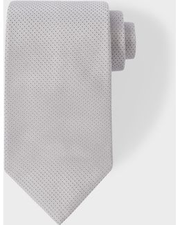 Men's Light Grey Pin Dot Silk Tie With 'naked Lady' Lining