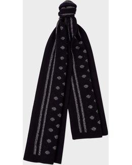 Men's Navy Reflective Polka Dot Wool-blend Scarf