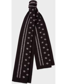 Men's Black Reflective Polka Dot Wool-blend Scarf