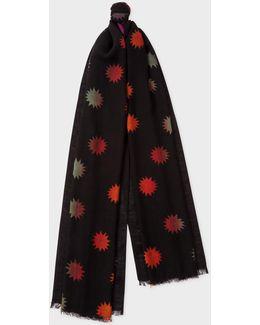 Men's Black 'lino Comet' Pattern Wool Scarf