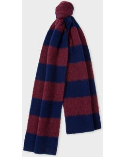 Men's Navy And Burgundy Stripe Lambswool Scarf