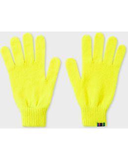 Men's Neon Yellow Wool Gloves