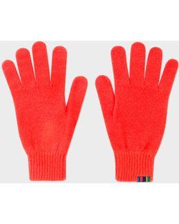 Men's Neon Red Wool Gloves