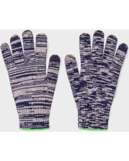 Men's Navy Space Dye Wool Gloves