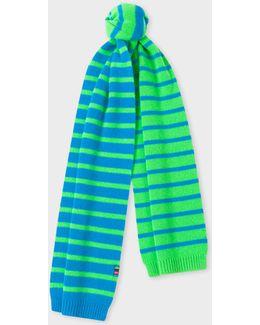 Men's Neon Green Stripe Lambswool Scarf