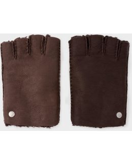 Men's Chocolate Brown Sheepskin Fingerless Gloves