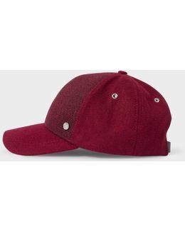 Men's Burgundy Herringbone Wool Baseball Cap