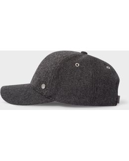 Men's Slate Grey Herringbone Wool Baseball Cap