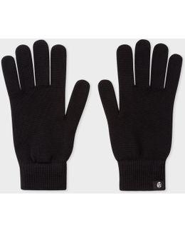 Men's Black Merino Wool Gloves