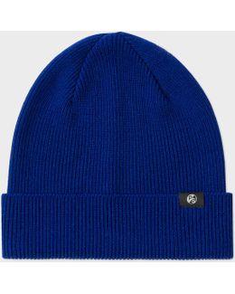 Men's Cobalt Blue Merino Wool Beanie Hat