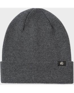 Men's Grey Merino Wool Beanie Hat