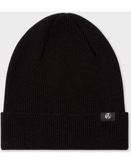 Men's Black Merino Wool Beanie Hat