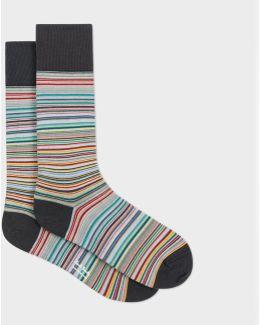 Men's Grey Signature Stripe Socks