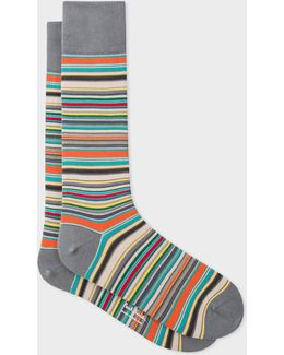 Men's Grey Signature Stripe Socks