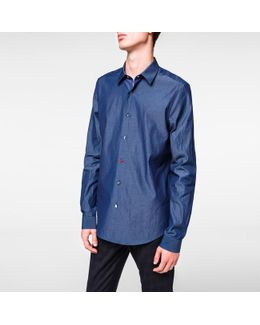 Men's Slim-fit Chambray Charm-button Shirt