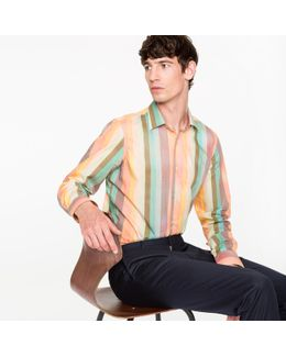 Men's Tailored-fit Muted 'artist Stripe' Print Shirt