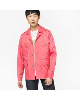 Men's Pink Four Pocket Cotton And Cupro-blend Field Jacket
