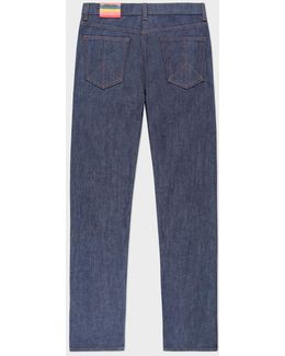 Men's Tapered-fit Raw Denim Jeans With 'peace' Stitch Detail