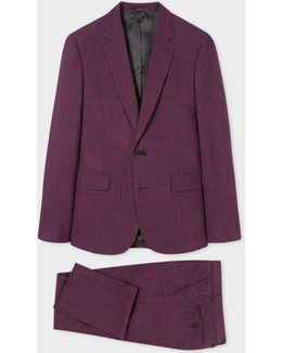 Men's Slim-fit Damson And Navy Check Wool And Linen-blend Suit