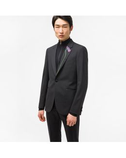 Men's Tailored-fit Black Stretch-wool Evening Blazer With Floral