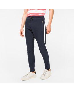 Men's Navy Loopback-cotton Panelled Sweatpants
