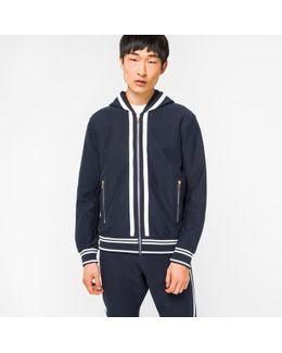 Men's Navy Loopback-cotton Zip-through Hoodie With Double-stripe