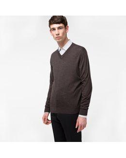 Men's Dark Brown Merino-wool V-neck Sweater