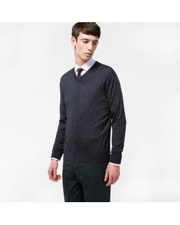 Men's Dark Grey Merino-wool V-neck Sweater