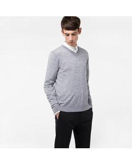 Men's Light Grey Merino-wool V-neck Sweater