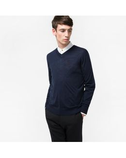 Men's Merino-wool Navy V-neck Sweater