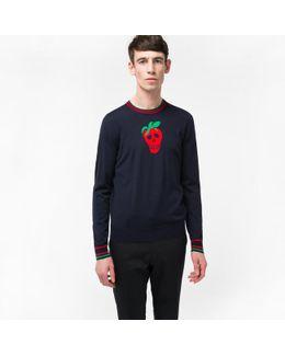 Men's Navy Merino Wool 'strawberry Skull' Intarsia Sweater