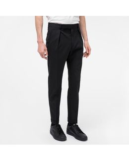 Men's Black Stretch-wool Tapered Trousers