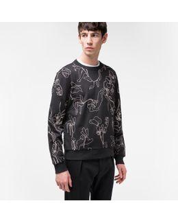 Men's Black Loopback-cotton 'botanical' Embroidered Sweatshirt